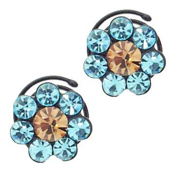 Karen Marie - Crystal Flower Black Coils - Aqua (set of 2)
