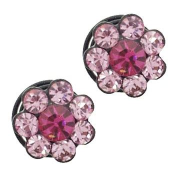 Karen Marie - Crystal Flower Black Coils - Rose (set of 2)