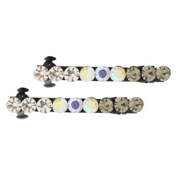 Karen Marie - Crystal Colorfade Mini Barrette - White (Set of 2)