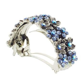 Karen Marie - Crystal Flower Pony Barrette - Blue