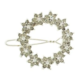 Karen Marie - Daisy Crystal Wreath Barrette - White & Smoke (1)
