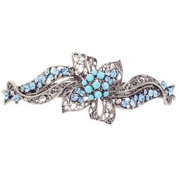 Karen Marie - Crystal Filigree Ribbon Barrette - Light Blue (1)