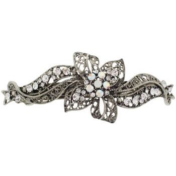 Karen Marie - Crystal Filigree Ribbon Barrette - White (1)