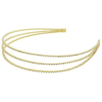 Ficcare - Glittery II Collection 3 Arch Headband - Gold w/Swarovski Crystals (1)