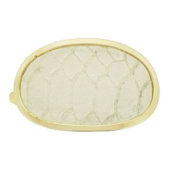 Ficcare - Soho Italian Snake Print Leather Barrette - Creme/Gold (1)