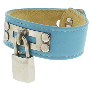 Karen Marie - Leather Cuff Bracelet - Sky Blue with Butterfly Silver Padlock/Key