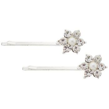 Karen Marie - Crystal & Pearl Flower Bobby Pins - White/Silver (Set of 2)
