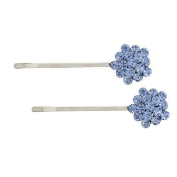 Karen Marie - Crystal Cluster Bobby Pins - Blue/Silver (Set of 2)