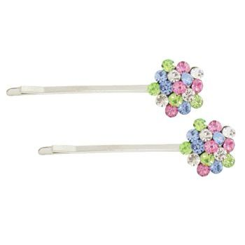 Karen Marie - Crystal Cluster Bobby Pins - Rainbow/Silver (Set of 2)