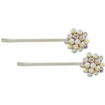 Karen Marie - Crystal Cluster Bobby Pins - White AB/Silver (Set of 2)