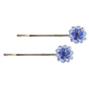 Karen Marie - Crystal Flower Bobby Pins - Blue/Silver (Set of 2)