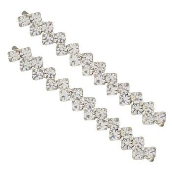 Karen Marie - Crystal ZigZag Bobby Pins - White/Silver (Set of 2)