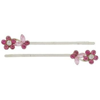 Karen Marie - Crystal Daisy & Butterfly Silver Bobby Pins - Rose (Set of 2)