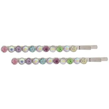 Karen Marie - Crystal Circle Bobby Pins - Rainbow (Set of 2)