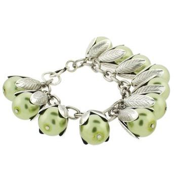 Dame Design - Beadcap Bracelet - Green and Silver (1)