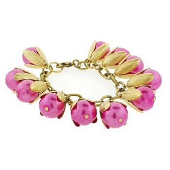 Dame Design - Beadcap Bracelet - Hot Pink and Brass (1)