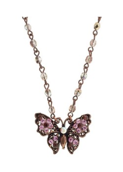 SOHO BEAT - Masquerade Collection - Jeweled Swarovski Butterfly Necklace - Pink Sapphire
