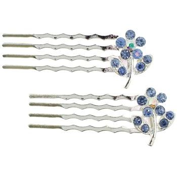 Karen Marie - Mini Crystal Daisy Bobby Comb - Light Sapphire (Set of 2)