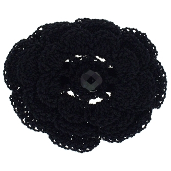 Balu - Crochet Flower Barrette - Black (1)