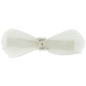 Balu - Feather Barrette w/Rhinestone Center - Ivory (1)