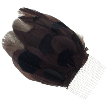 Balu - Feather Hair Comb - Black/Brown (1)