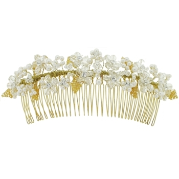 Balu - Extra Large Pearl & Crystal Hair Comb - Gold (1)