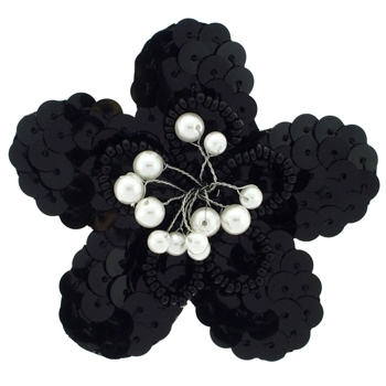 Balu - Sequin Flower Clip - Black w/Pearl Spray Center (1)