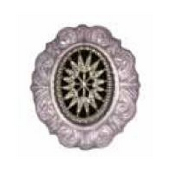 Tarina Tarantino - Gotham City - Etched Glass Starburst Cameo Ring with Baroque Frame - Silver
