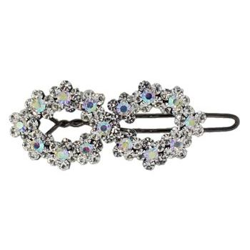 Betty Wales - Double Oval Crystal Clip - White (1)