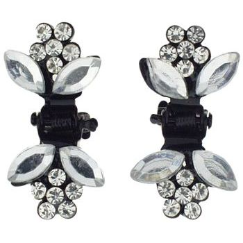 Karen Marie - Tiny Crystal Daisy Claw - White (Set of 2)
