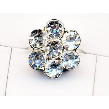 Rhinestone Flower Toe Ring - Brilliant White