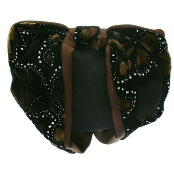 Karen Marie - Snood Collection - Large Velvet & Satin Snood with Glitter Lined Flower Burnouts - Chocolate