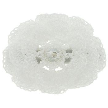 Balu - Crochet Flower Clip - White (1)