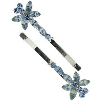 Karen Marie - Marquis Crystal Butterfly Bobby Pins - Sky Blue (Set of 2)