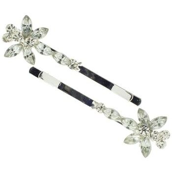 Karen Marie - Marquis Crystal Butterfly Bobby Pins - White Diamond (Set of 2)