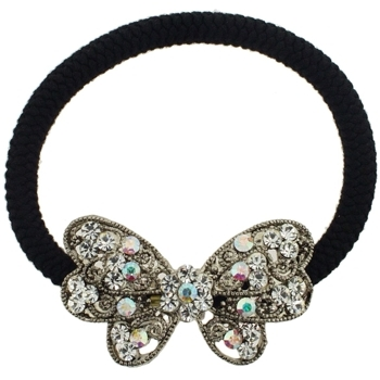 Karen Marie - Butterfly Bow Pony Elastic - White Diamond (1)