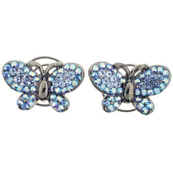 Karen Marie - Floating Crystal Butterfly Coils  - Sapphire (set of 2)