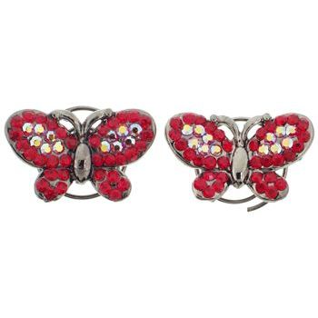 Karen Marie - Floating Crystal Butterfly Coils  - Ruby (set of 2)