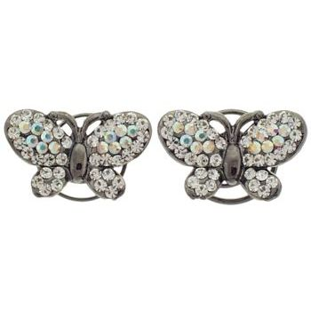 Karen Marie - Floating Crystal Butterfly Coils  - White (set of 2)