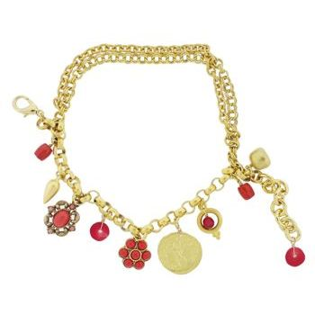 Linda Levinson - Gold Plated Charm Bracelet w/Coral Charms