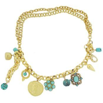 Linda Levinson - Gold Plated Charm Bracelet w/Turquoise Charms