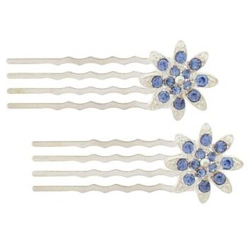 Karen Marie - Mini Crystal Flower Bobby Comb - Blue (Set of 2)