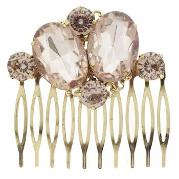 Karen Marie - Antique Colossal Crystal Comb - Light Topaz (1)