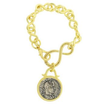 Linda Levinson - Gold Plated Large Coin Drop Bracelet