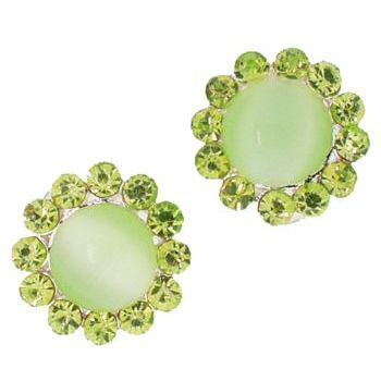 Karen Marie - Crystal Moonstone Coils - Peridot (set of 2)