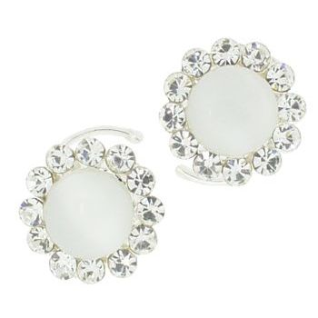 Karen Marie - Crystal Moonstone Coils - White (set of 2)