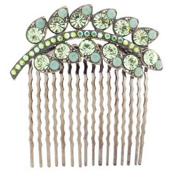 Medusa's Heirlooms - Antique Plume Comb - Peridot (1)