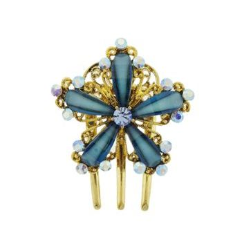 Medusa's Heirlooms - Enamal Glass Three Prong Flower Clip - Blue