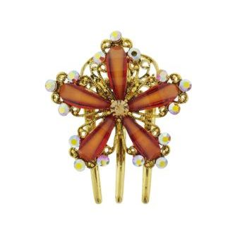 Medusa's Heirlooms - Enamal Glass Three Prong Flower Clip - Topaz
