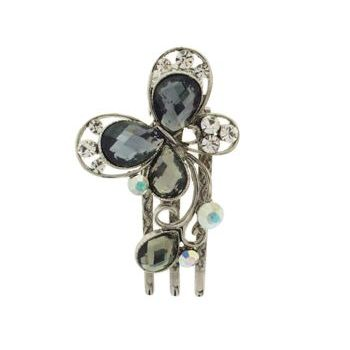 Medusa's Heirlooms - Crystal Butterfly Three Prong Clip - Smoke